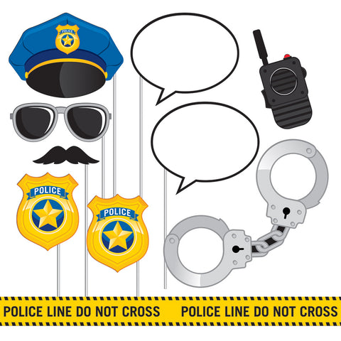 Police Party Photo Booth Props Assorted Size Plastic Stick