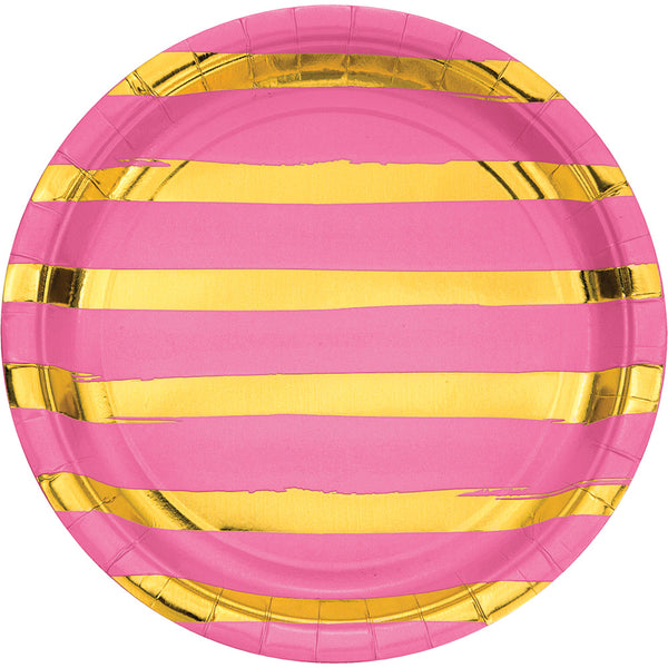 Candy Pink Foil Dinner Plates