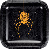 Wicked Spider Luncheon Plates Square Foil