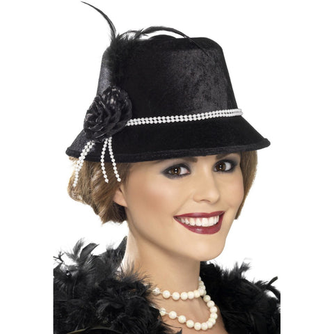 1920s Black F Hat With Beads & Flower