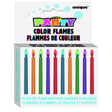 Color Flame Birthday Candle 10 With Holder As