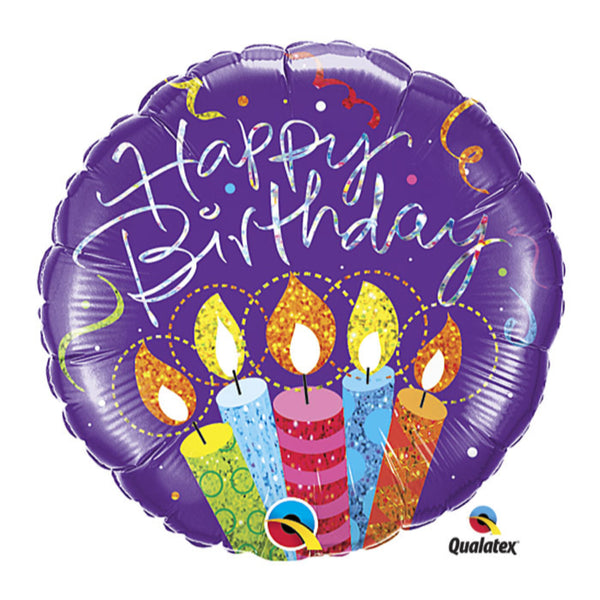 Holographic Birthday Party Candle Foil Bln