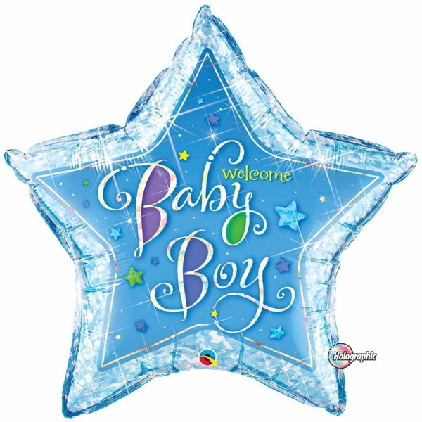 Holographic Welcome Baby Boy Star Foil Balloon