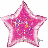 Holographic Welcome Baby Girls Star Foil Balloon