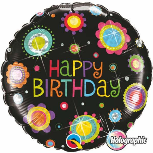 Holographic Birthday Funky Dots Foil Balloon