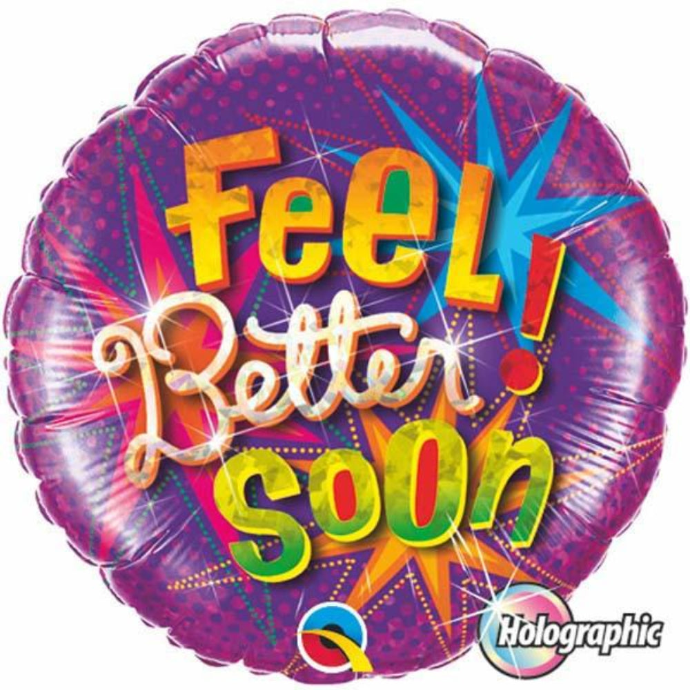 Holographic Feel Better Soon Star Bursts Foil Balloon