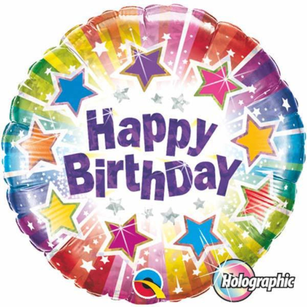 Holographic Birthday Radiant Stars Foil Balloon