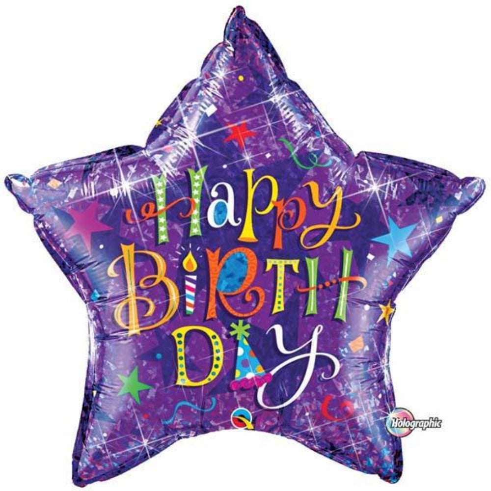 Holographic Birthday Typography Foil Balloon
