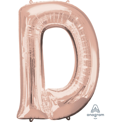 Letter D Rose Gold Foil Balloon