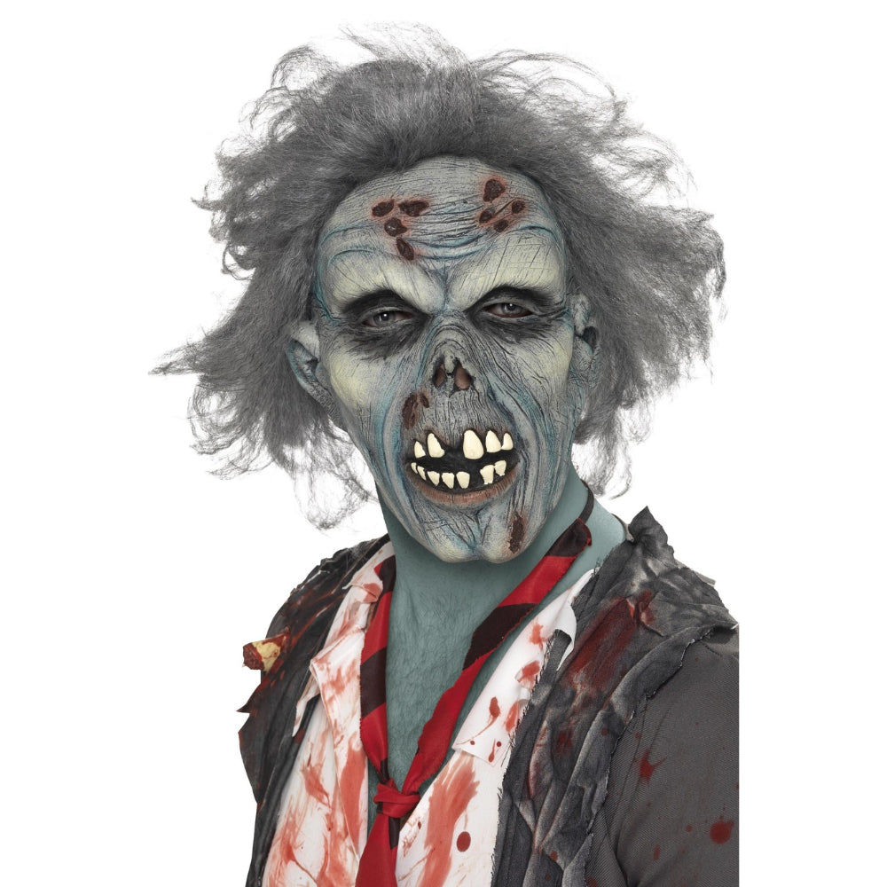Decaying Zombie Mask With Grey Hair