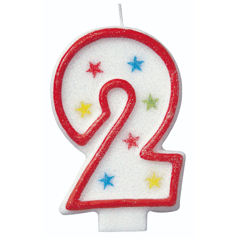 Numerical 2 Glitter Candle With Cake D̩cor