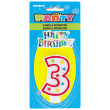 Numerical 3 Glitter Candle With Cake D̩cor