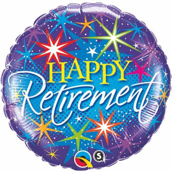Retirement Colorful Bursts Round Foil Balloon