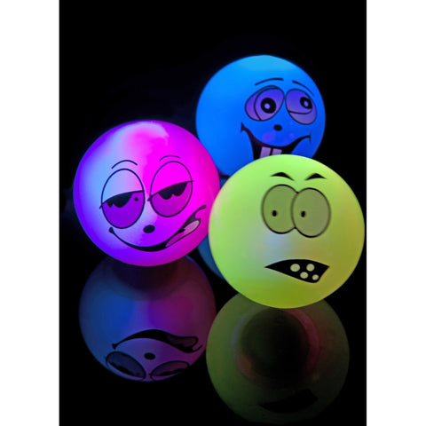 Zany Face Balls Flashing & Bouncing Assorted Colours