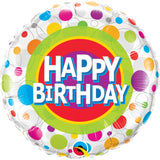 Happy Birthday Colorful Dots  Round Foil Balloon