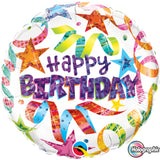 Holographic Birthday Stars & Streamers  Foil Balloon