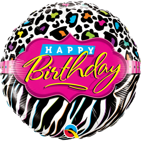 Birthday Leopard Zebra Patterns Foil Balloon
