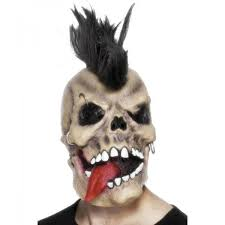 Punk Skull Rocker Mask With Hair & Piercings M