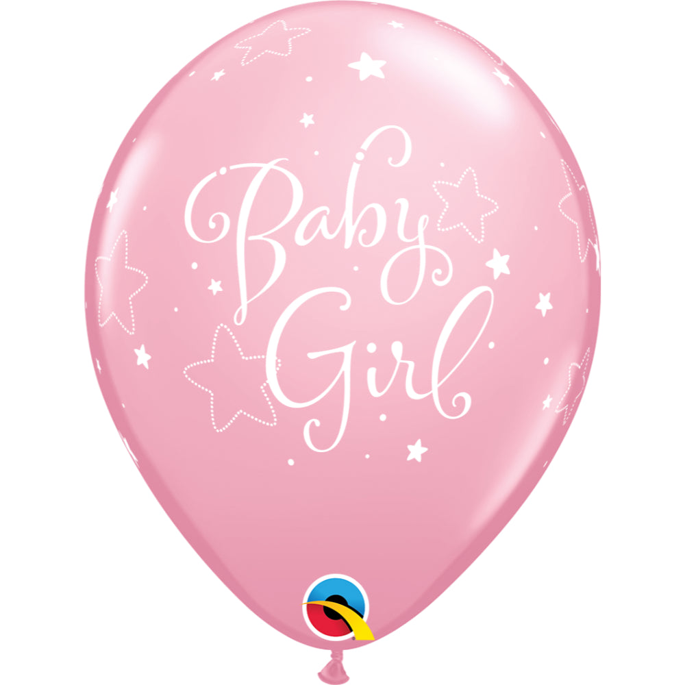 Baby Girl Stars 11in Assorted Pink & Wild Berry Latex Balloons 6 pieces