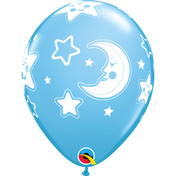 Baby Moon & Stars 11in Pale Blue Latex Balloons 6 pieces