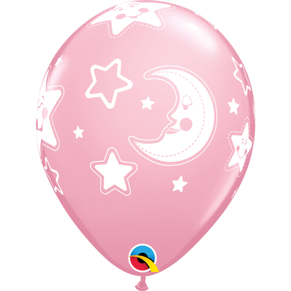Baby Moon & Stars 11in Pearl Pink Latex Balloons 6 pieces