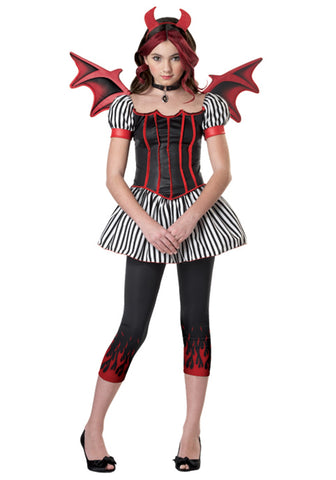 Devil Tween Costume Black/White/Red