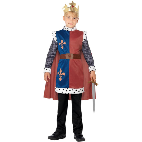 King Arthur Medieval Boy Costume With Cape & Crown