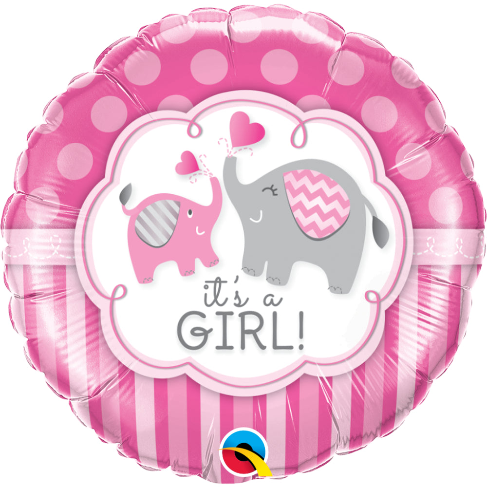 Its A Girl Elephants Foil Balloon