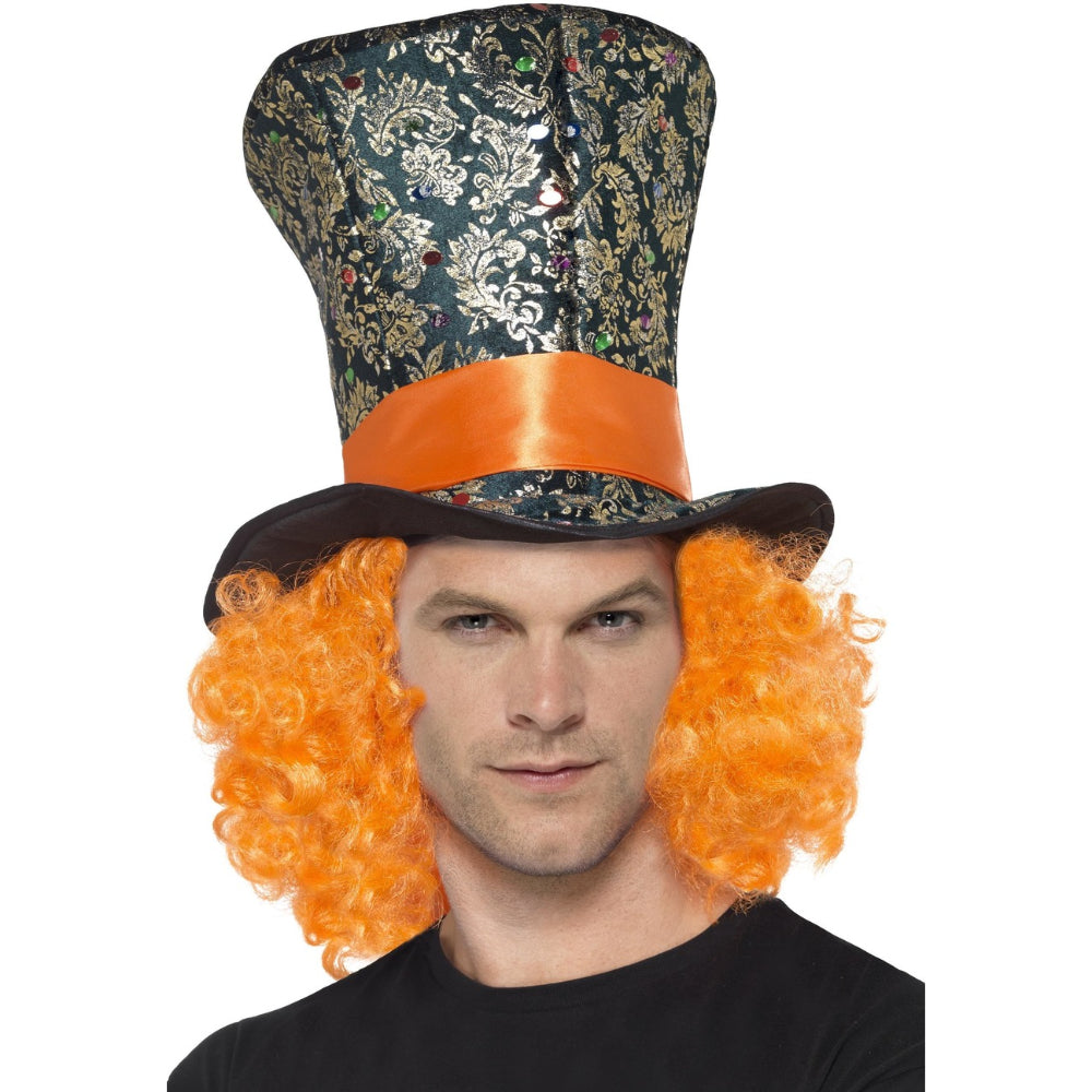 Top Hat Multi Coloured With Attached Hair
