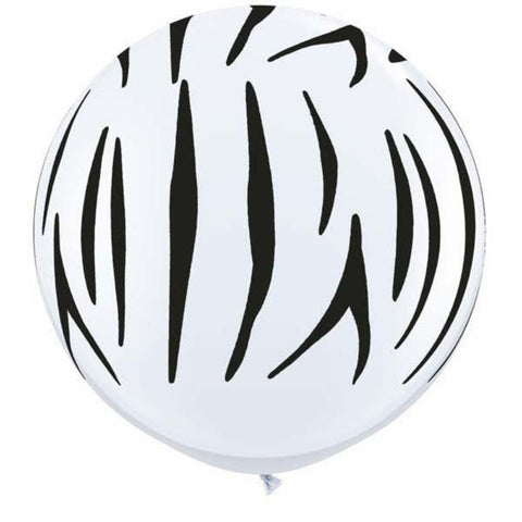 3Ft Zebra Stripes-A-Round Balloons White