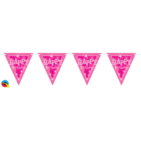 Pink Sparkle Happy Bday 3.6M Flag Bannerbunting