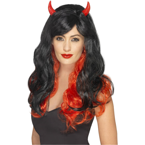 Devil Female Wig Red & Black, With Horns