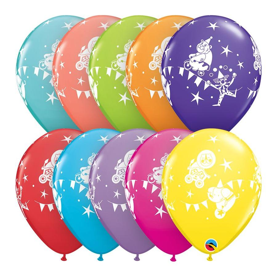 Circus Parade 11in Retail Asst. Latex Balloons 6 pieces