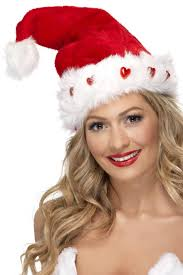 Light Up Santa Hat Red Deluxe