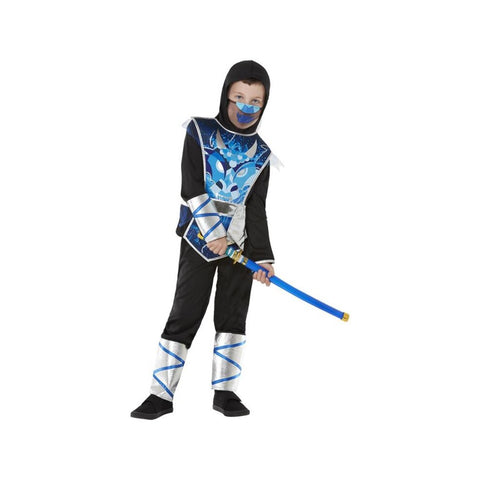Ninja Warrior Costume Blue Top Trousers & Sword