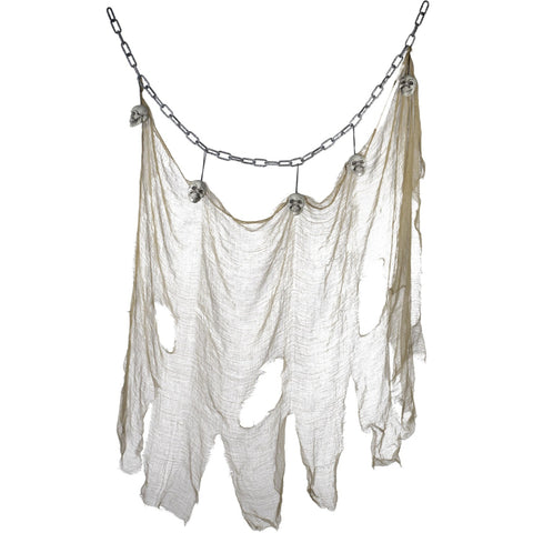 Hanging Skull & Muslin Chain Grey
