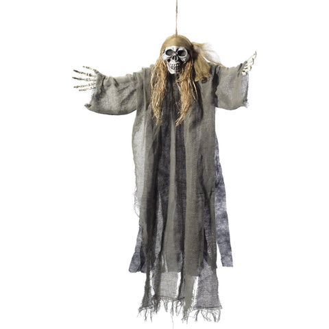 Hanging Pirate Skeleton Decoration Green With Muslin Robe