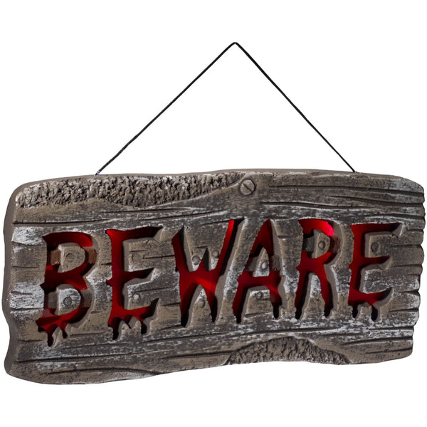 Light Up Hanging Beware Sign Grey