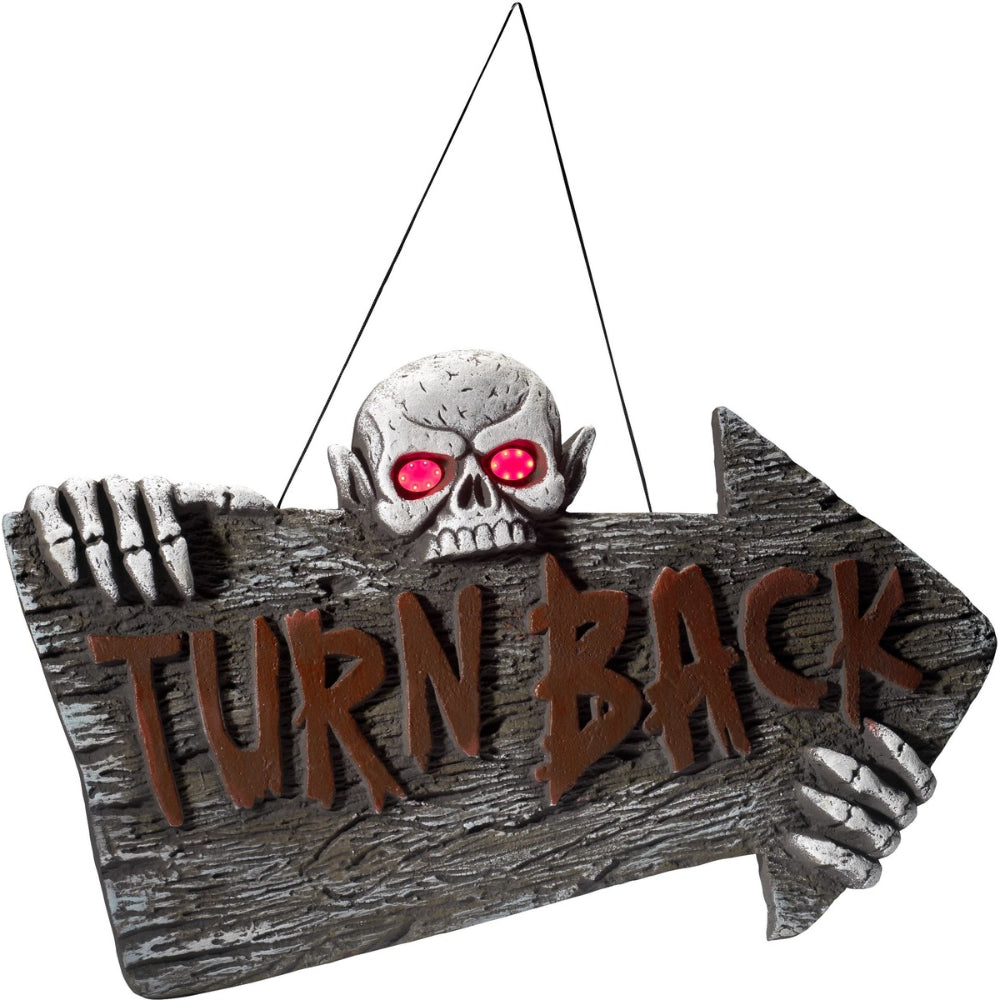 Light Up Turn Back Hanging Sign Red & Grey Battery Operated