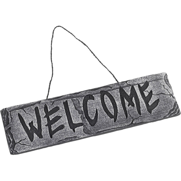 Hanging Welcome Sign Grey Stone Effect