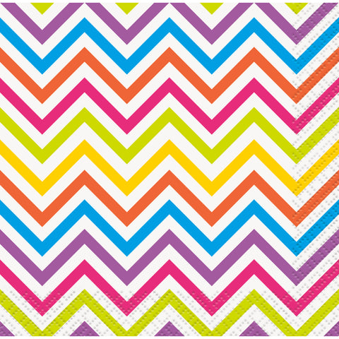 Rainbow Chevron Beverage Napkins