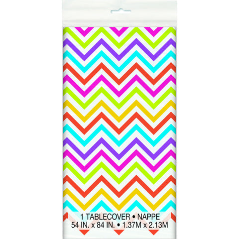 Rainbow Chevron Plastic Tablecover