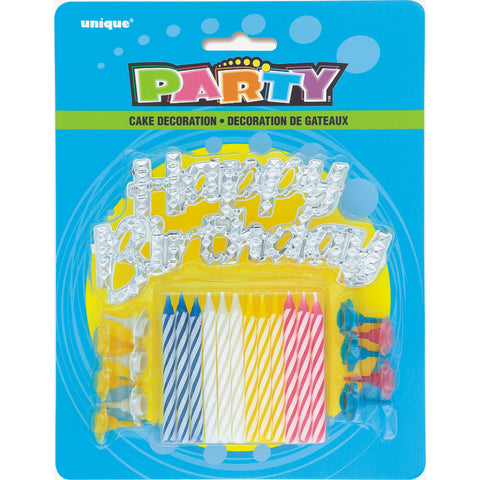 Happy Birthday Silver Cake Topper W 12 Candles & Holders