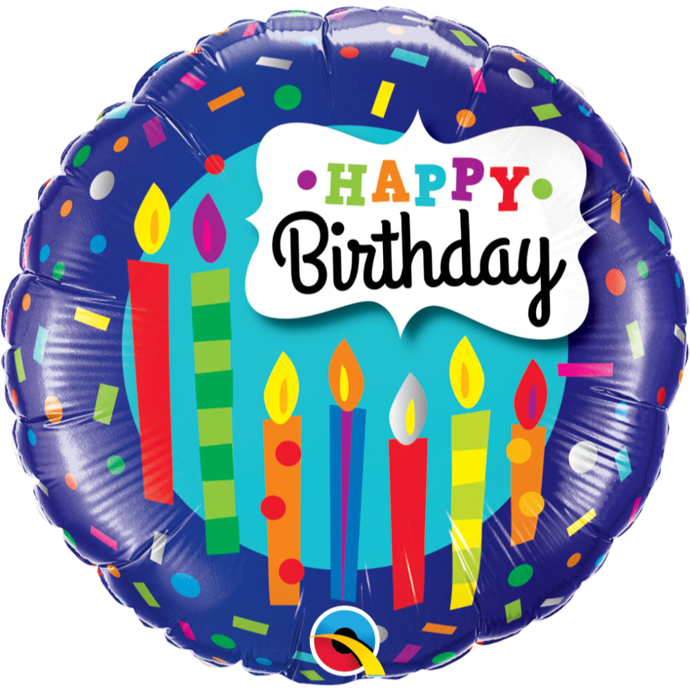Round Birthday Candles & Confetti Foil Balloon
