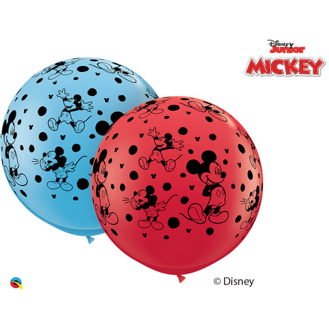 3Ft Red&P-Blue Dn Mickey Mouse-A-Rnd Latex Balloons