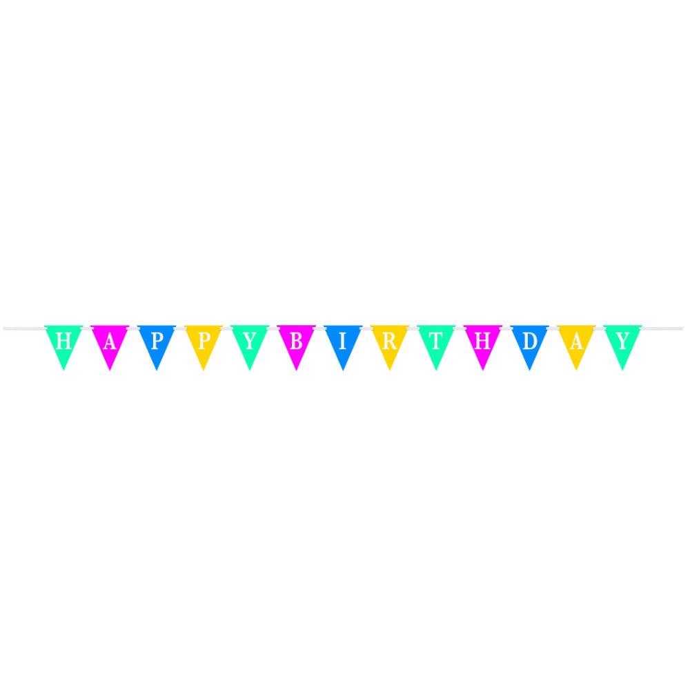 Confetti Cake Birthday Flag Paper Banner With Ribbon