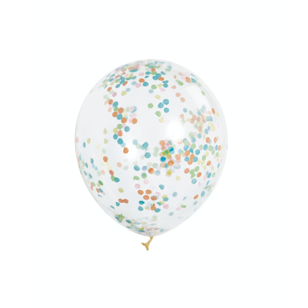 Clear Balloons With Multi Color Confetti