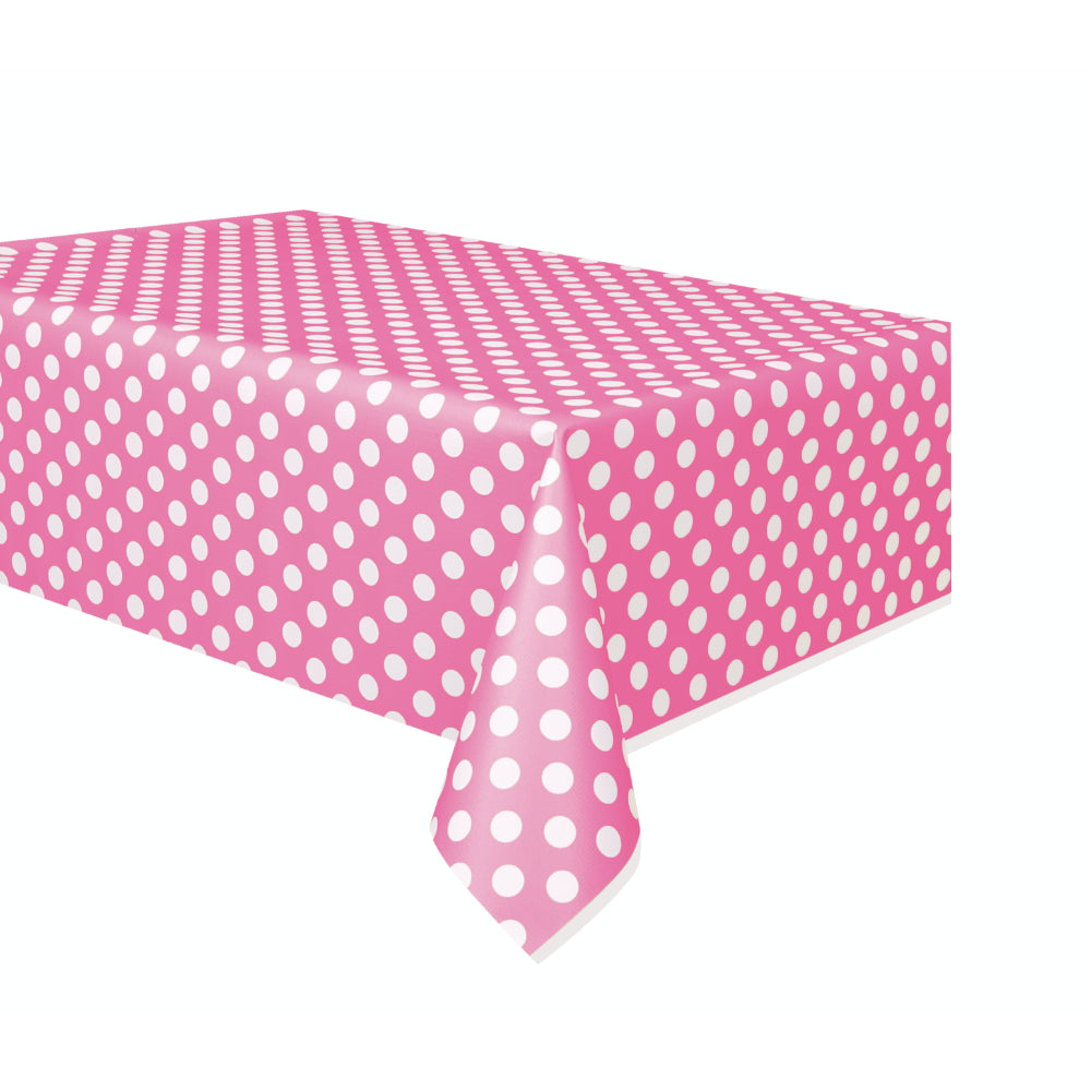 Hot Pink Deco Dot Plastic Tablecover