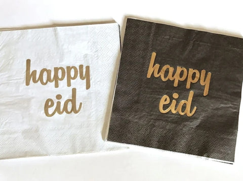 Happy Eid Napkin Black