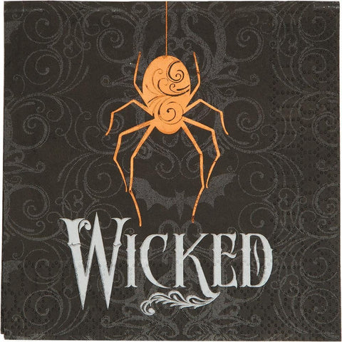 Wicked Spider Beverage Napkins 3 Ply Foil Stamped 16pcs
